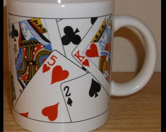 Vintage Playing Cards Coffee Cup