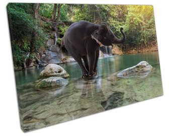 Erawan WATERFALL with Elephant canvas WALL ART C2629