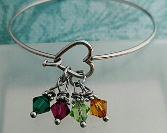 Heart Bangle, Birthstone Heart Bangle, Mother's Day Gift, Mother's Day Bracelet, Mother's Day Bangle, Swarovski Birthstones