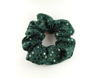 Scrunchie, scrunchies, tie hair, green paillette glitter