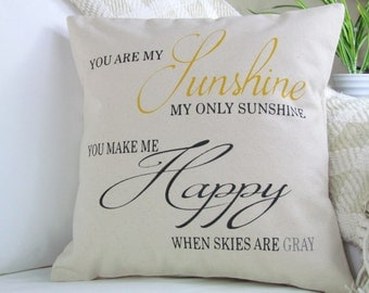 You Are My Sunshine Pillow, Nursery Pillow, Decorative Pillow, Throw Pillow