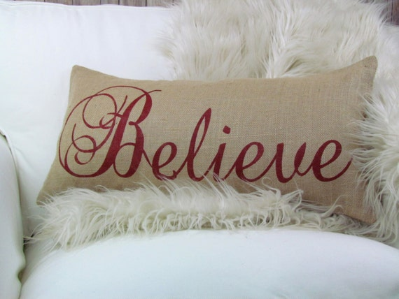 Burlap Pillow Believe Christmas Pillow, Holiday Decor, Christmas Decor, Holiday Pillow
