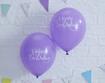 Purple Happy Birthday Balloons