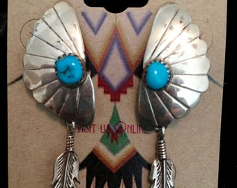 Sterling Silver and Turquoise Dangle Feather Earrings