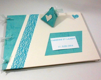 Photos or white and gold - TURQUOISE wedding book album