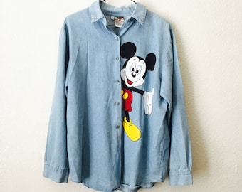 90s Painted Mickey Mouse Chambray Denim Shirt