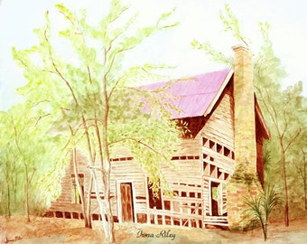 Watercolor of old house / Abandoned house / Print 8 X 10
