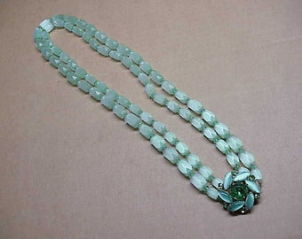 Rhinestone vintage mica jade cold stone beaded necklace #130