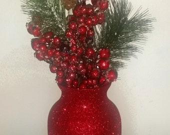 Red vase, red centerpiece, valentines day, garnet vase, glitter vase, wedding centerpiece, engagement vase, mothers day, flower vase, glass