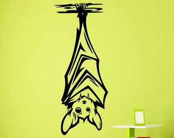Bat Hanging Upside Down Decal Animal Nursery Wall Vinyl Sticker Home Kids Room Interior Design Art Decoration Mural (202a)