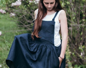 FREE SHIPPING, Womens Linen Overall Dress, Navy Blue, Oversized, Summer Skirt, Linen Clothes SS16, Natural Flax, Womens Clothing