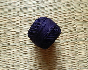Navy Blue Crochet Yarn, Mercerized Cotton Yarn, Knitting Yarn, Embroidery Yarn, Cotton Crochet Yarn - 120 Yards