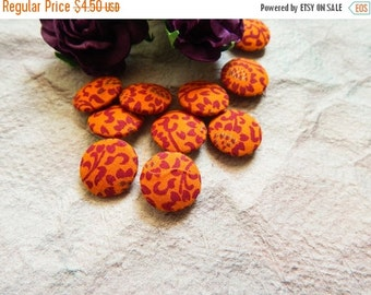 15% OFF Set of 10 Fabric Buttons, 14mm buttons, Floral Fabric Buttons, Decorative Buttons, Fabric Covered Buttons, Orange Buttons