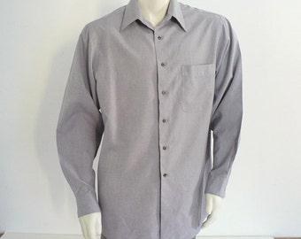 Mens Gray Dress Shirt Size 16 / 34-35