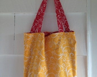 Red and Yellow Reversible Tote