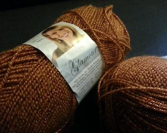 Lion Brand Yarn Co Vanna's Glamour Yarn - Bronze, Bundle of 2, 404 Yards Total