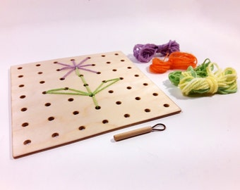 Children's Sewing Embroidery Board kit with Wooden Needle and Yarn, Montessori lacing board, Montessori activity board