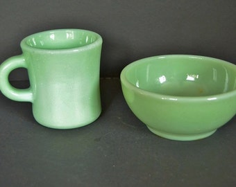 Jadeite Coffee Mug With Soup Bowl