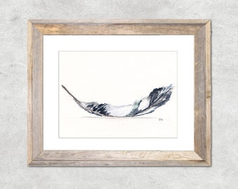 Feather Original Watercolor Painting 3x5