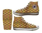 Traditional Orange African Kente Custom Printed Converse All Stars and Vans