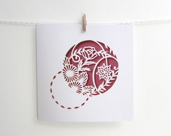 Rose Papercut Print Card, Patterned Botanical Square Card, Pink Floral Card