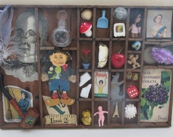 Vintage Printers Tray Shadow Box with Vintage Curios - Wunderkammer/Instant Collection