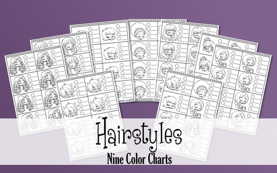 Hairstyles - 9 Printable Color Charts - Copics - Promarkers - Coloring Practice