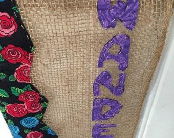 Wanderer yarn bombed burlap wall hanging, prayer flags, wall decoration, wanderer yarn and burlap flag, halloween