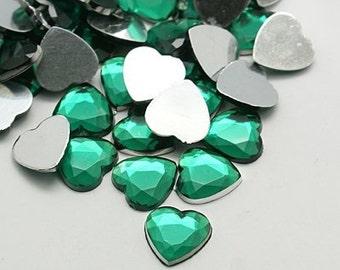 Green Rhinestones - 18mm Acrylic Rhinestones - Heart rhinestones - Set of 20 - Acrylic cabochons - Flatback heart centers - Jewelry supply