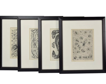 """Set 4 """"Bestiarie"""" (sic) Bestiary Limited Edition Etchings of Insects Fish"""