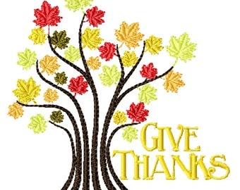 Give Thanks Tree -Machine Embroidery Design for Thanksgiving