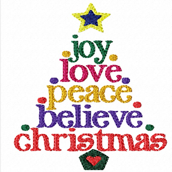 Christmas words tree machine embroidery design