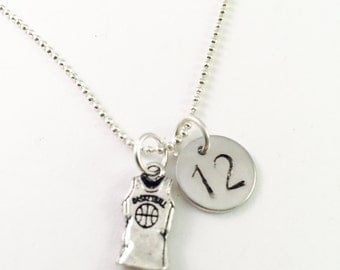 Personalized Basketball necklace, Personalized sport necklace, sport necklace, player's number necklace, basketball team gifts, coaches gift