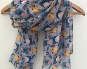 Blue Grey Owl Lover Print Women's Scarf