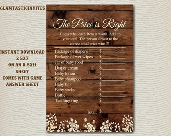 The Price is right Baby Shower Game Printable, Baby Shower Games, Baby Shower Price is Right, Digital file, Baby Shower Game, Download