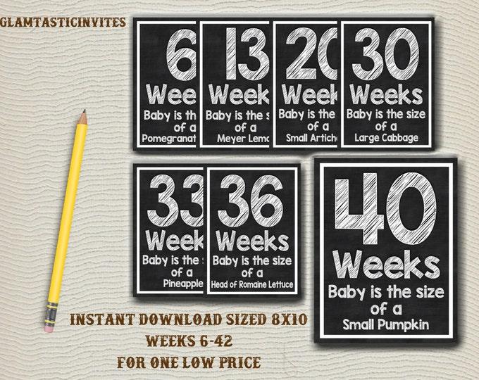 Weekly Pregnancy Chalkboard Sign, Chalkboard sign, Weekly package, Weekly Pregnancy Countdown, Chalkboard Pregnancy, Pregnancy Countdown