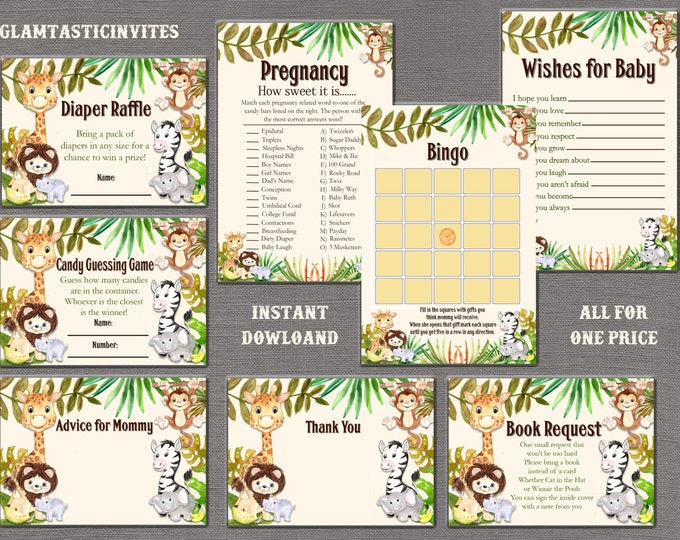 Safari Baby Shower Game Package, Jungle Baby Shower Game Package, Baby Shower Game Package, Gender Neutral, Baby Girl Shower, Baby BoyShower