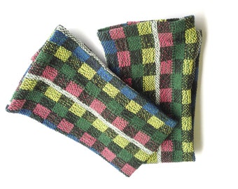 Hand Woven Tea Towel in Brights and Black Boxes