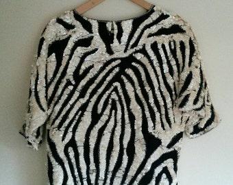 Glamorous sequined Top Zebra Print