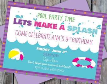 Pool party invite | Etsy
