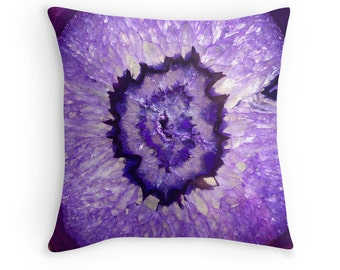 Purple Agate Geode Throw Pillow, Pillow Case and Insert, Multiple Sizes Available!