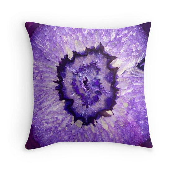 Purple Throw Pillow Cases : Purple Agate Geode Throw Pillow Pillow Case and Insert