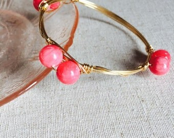 Coral Pink Wire Wrapped Bracelet