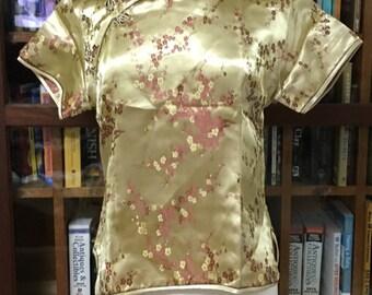 Sale: Plus size cheongsam traditional Asian dress top.  cherry blossom print.