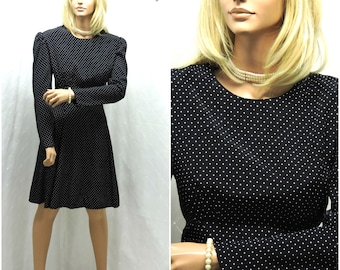Vintage 1980s secretary dress M black white polka dot 80s does 60s swing dress 7 / 8  polka dot baby doll full skirt dress SunnyBohoVintage