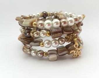 Cream & Mocha Gold Pearl Cuff