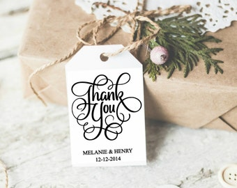 SET OF 24 Custom Thank you from FAvor tags. Wedding CUSTOM Thank you Tags, Favor tags Metallic Favor tags, elegant favor tags. Shimmery tags