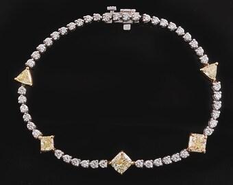 14k Yellow Diamond Bracelet * Natural Color * 4.77ctw Gold