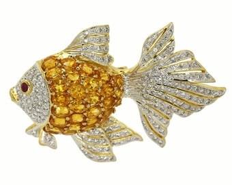 18k Diamond Brooch Yellow Gold Yellow Sapphires Ladies 3D Fish Pin Brooch