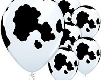 12  COW PRINT Qualatex Latex Balloons 11 inch Holstein Cow Balloons Farm animal Party